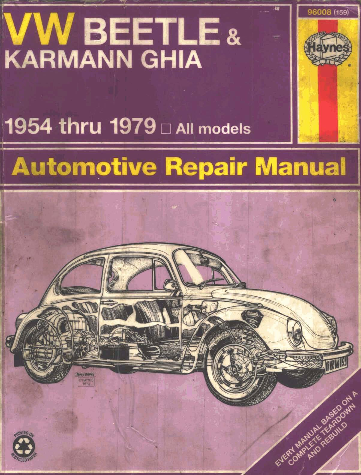 Haynes Service Manual Vw Beetle  U0026 Karman Ghia